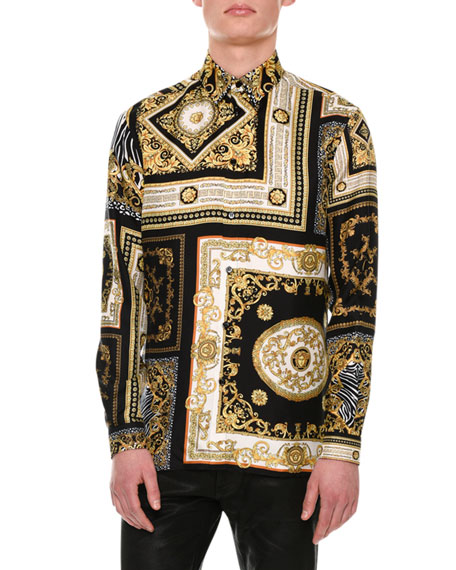 Signature Baroque-Print Silk Shirt, Black