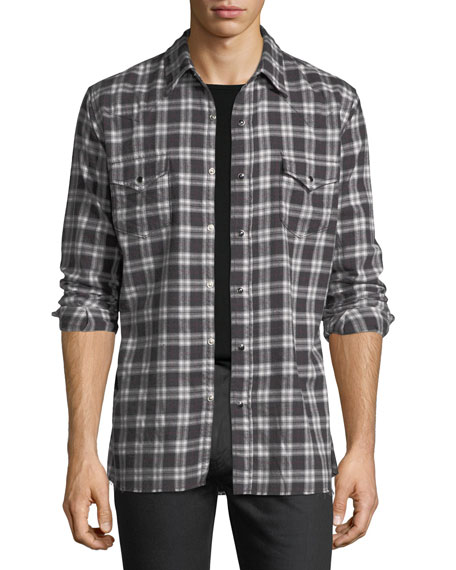 Classic Flannel Plaid Western Shirt