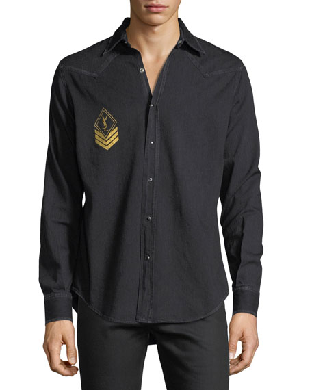 Saint Laurent Milittary Monogram Denim Shirt