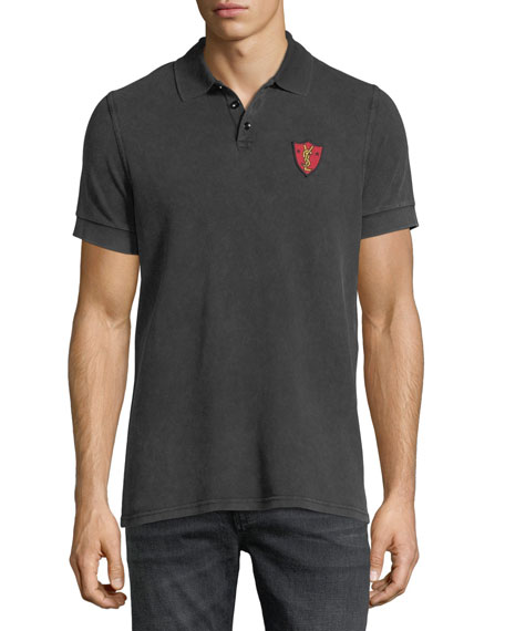 Saint Laurent Washed Pique Polo Shirt with Shield