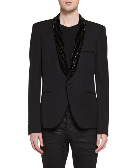 Saint Laurent Le Smoking Jacket with Embellished Lapel,