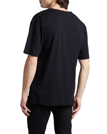 Metallic Logo Cotton T-Shirt, Black/Blue