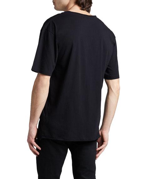 Metallic Logo Cotton T-Shirt, Black/Blue