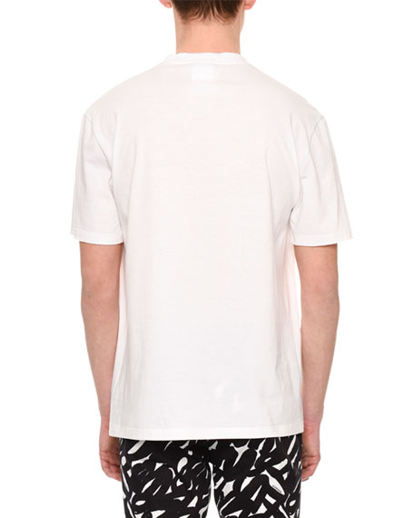 Painted Medusa Cotton T-Shirt, White/Black