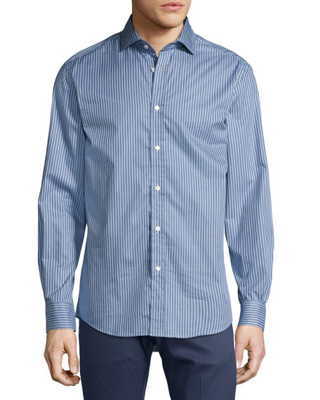 Striped Twill Cotton Shirt, Blue/White