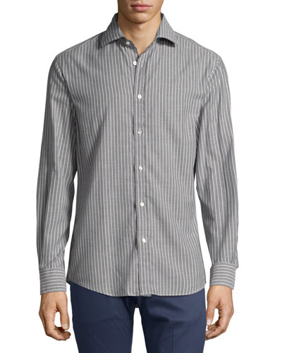 Striped Twill Cotton Shirt, Gray/White