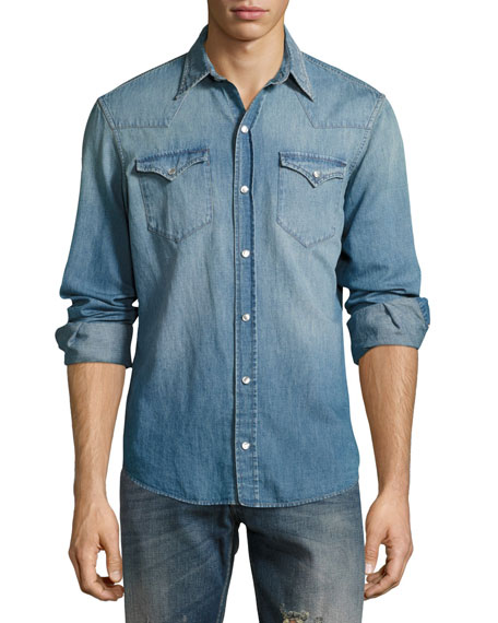 Washed Denim Western Shirt, Indigo