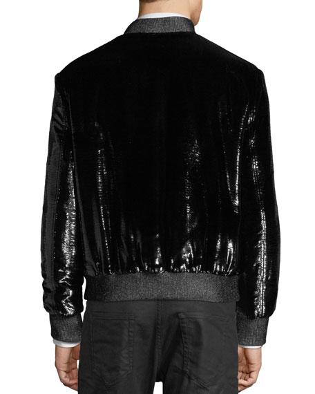 Shiny Silk-Blend Bomber Jacket