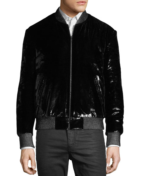 Shiny Silk-Blend Bomber Jacket
