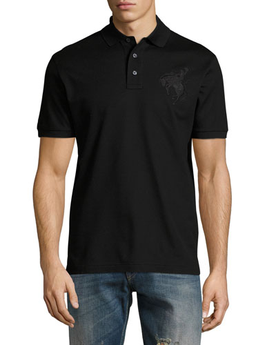 Bucking Bronco Cotton Pique Polo Shirt, Black