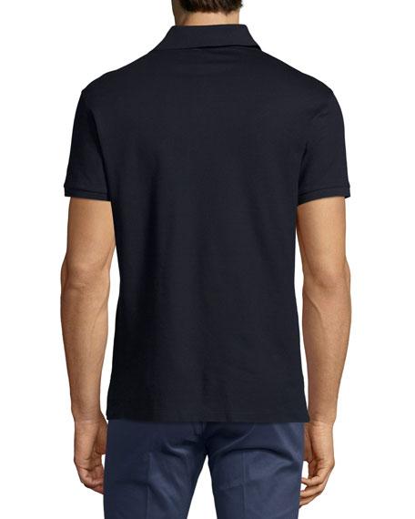 Active Zip-Front Pique Polo Shirt, Navy