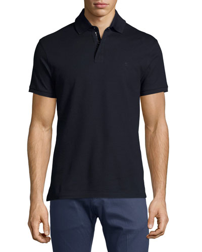 Active Zip-Front Pique Polo Shirt, Navy