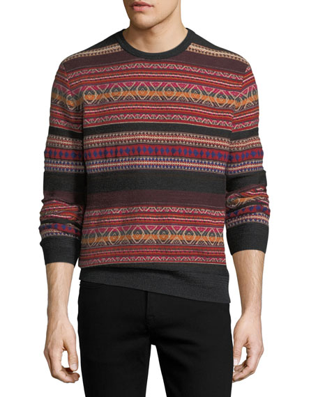 Ralph Lauren Cashmere-Blend Southwestern-Knit Striped Sweater