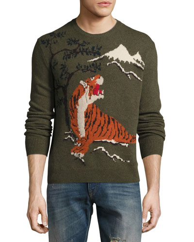 Tiger Intarsia Wool-Cashmere Sweater