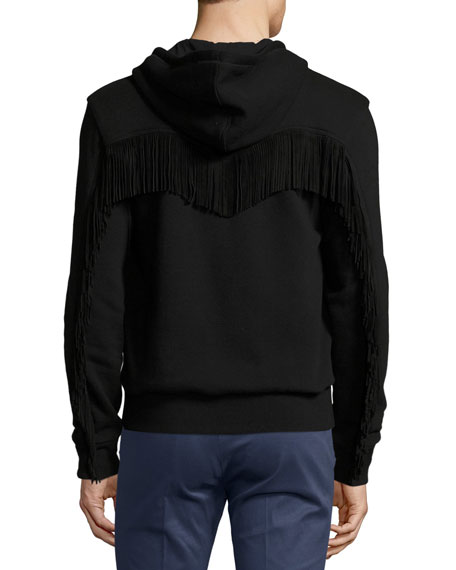 Western Zip-Front Hoodie with Suede Fringe, Black