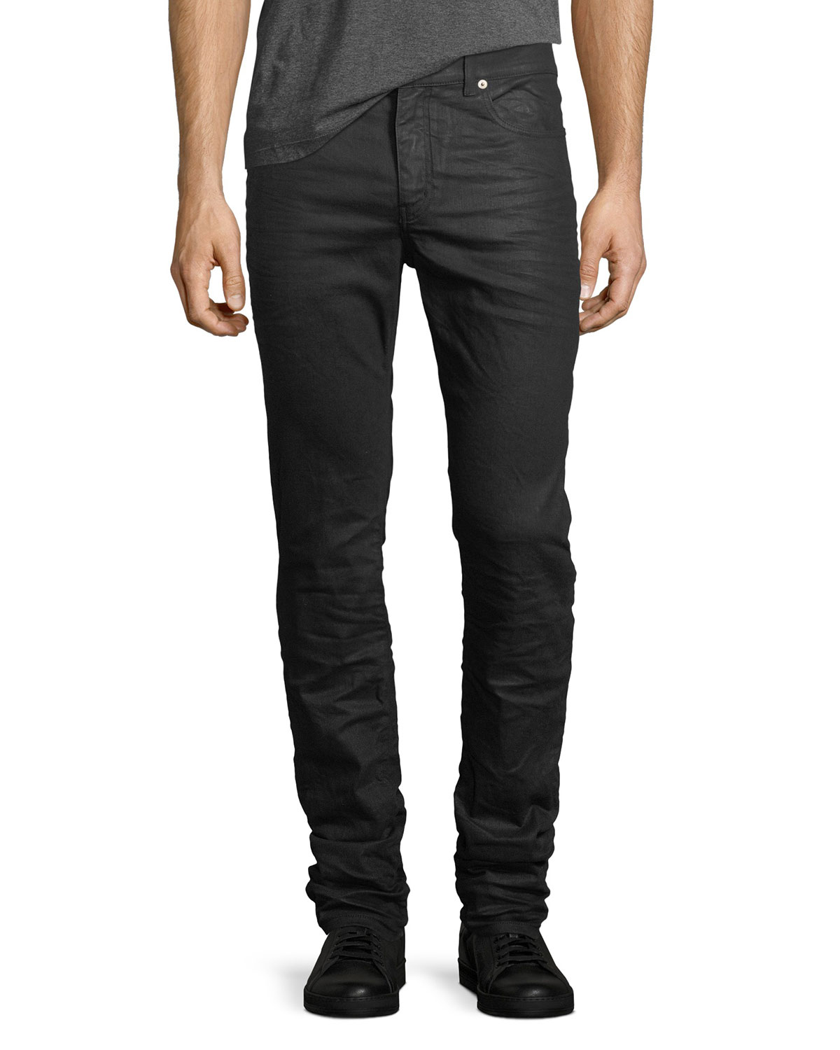 f4c2310aa23 Saint Laurent Coated Denim Skinny Jeans | Neiman Marcus