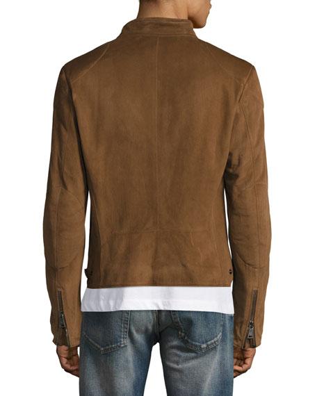 Suede Biker Jacket, Chestnut Brown