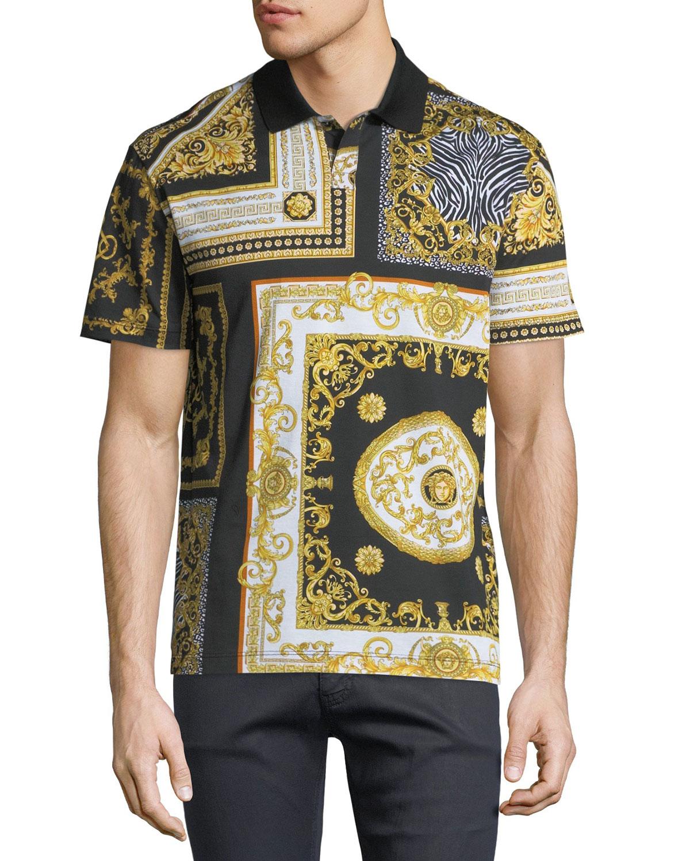 19e94f78 Versace Signature Baroque Tile Print Polo Shirt | Neiman Marcus