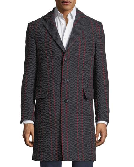 Contrast-Striped Herringbone Wool-Blend Coat