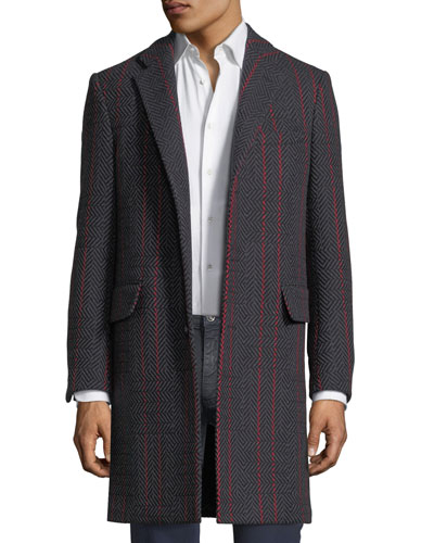 Contrast-Striped Herringbone Wool-Blend Coat