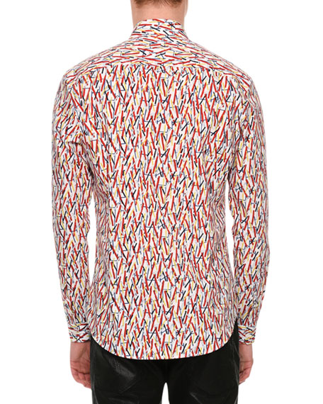 Matchstick-Print Cotton Shirt, Multicolor