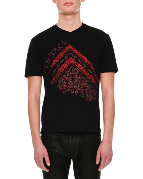 Versace Greek Logo-Print Cotton T-Shirt, Black