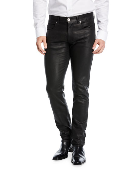 Versace Five-Pocket Leather-Style Pants