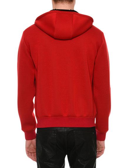 Neoprene Leather Zip Hoodie, Red
