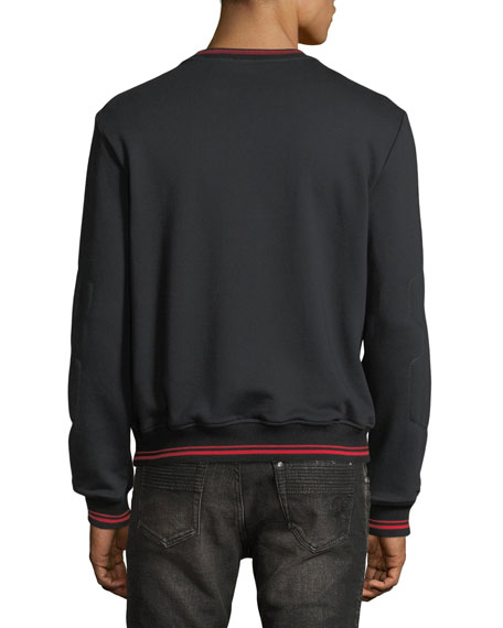 Medusa Medallion Leather-Trim Sweatshirt