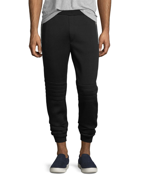 Leather-Trim Moto Jogger Pants