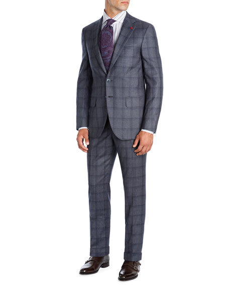 Isaia Shadow Plaid Super 130s Wool Two-Piece Suit