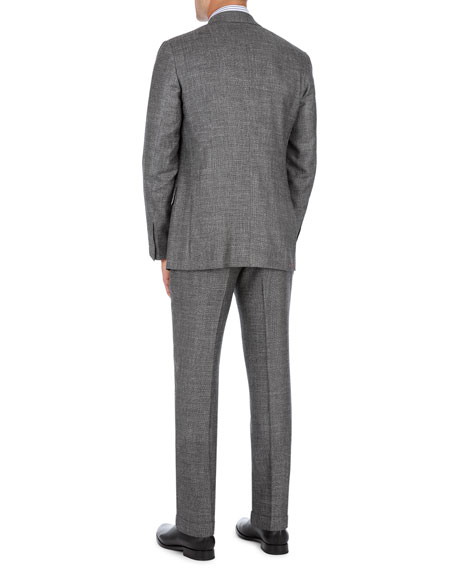 Double-Breasted Two-Piece Suit in Micro Check