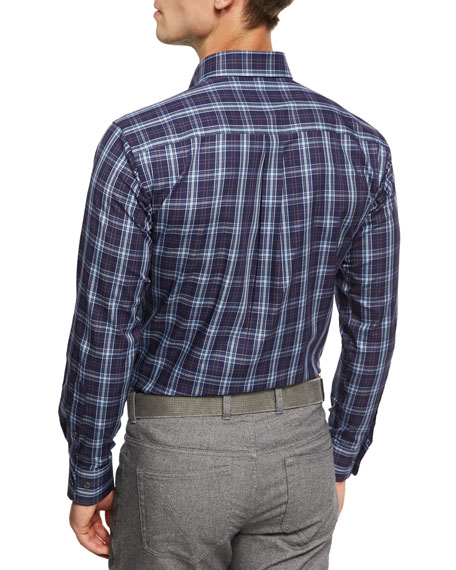 Crown Blackfoot Plaid Cotton Shirt, Navy