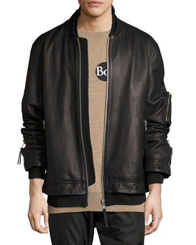 Rudyard Leather Bomber Jacket, Black