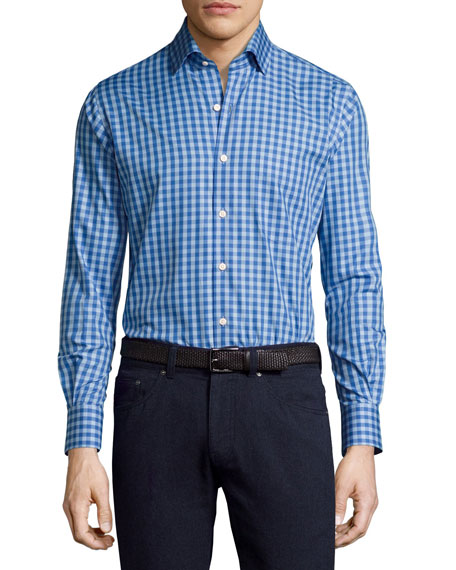 Peter Millar Crown High Latitude Gingham Cotton Shirt,