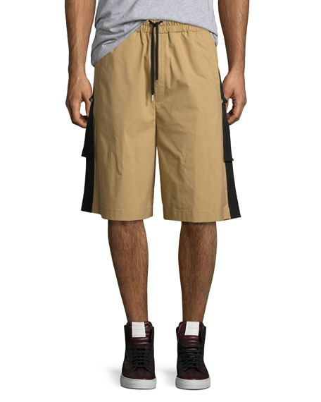 Public School Durero Herringbone-Tape Shorts, Sand and Matching