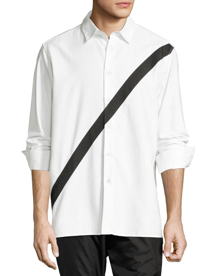 Neruda Contrast-Stripe Cotton Shirt, White/Black