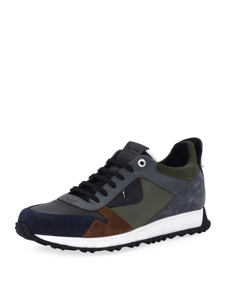 Fendi Monster Leather & Suede Running Sneaker and
