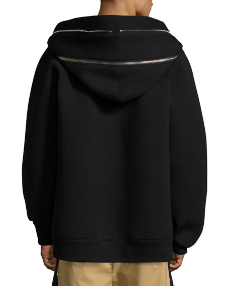 Oversized Full-Zip Neoprene Hoodie, Black
