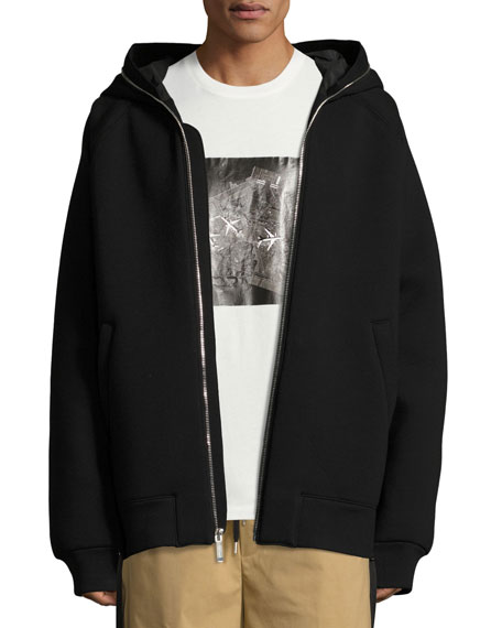 Public School Oversized Full-Zip Neoprene Hoodie, Black