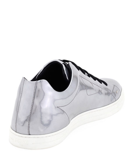 Men's Bag Bugs Metallic Leather Low-Top Sneakers, Silver