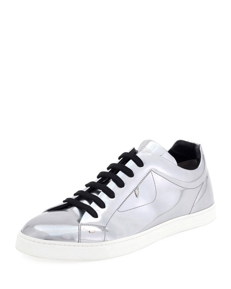 Fendi Bag Bugs Metallic Leather Low-Top Sneaker, Silver