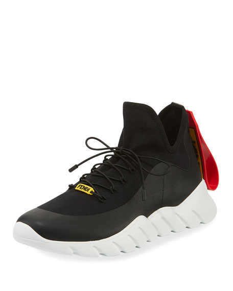 Fendi Men's Runway High-Top Scuba Sneakers, Black