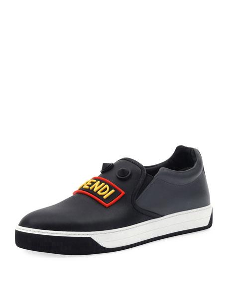 Fendi Vocabulary Face Leather Slip-On Skate Sneaker, Black