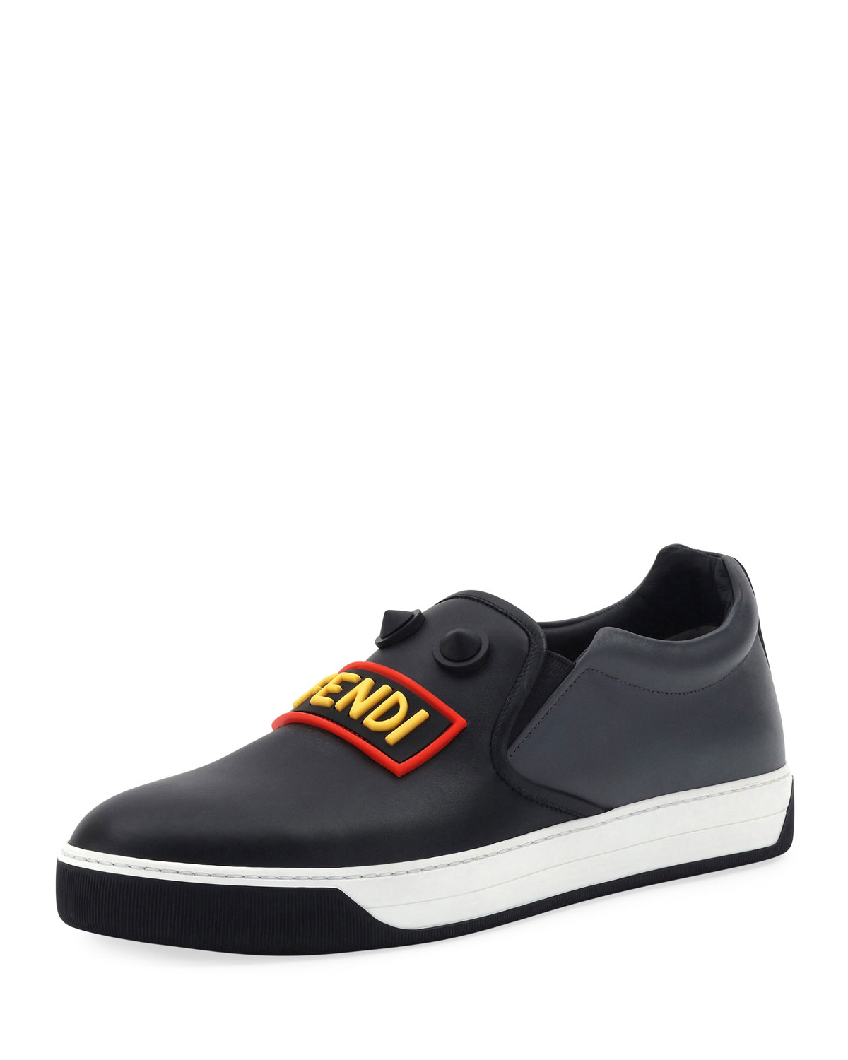 0b47b2a6a6f Fendi Vocabulary Face Leather Slip-On Skate Sneaker, Black | Neiman ...