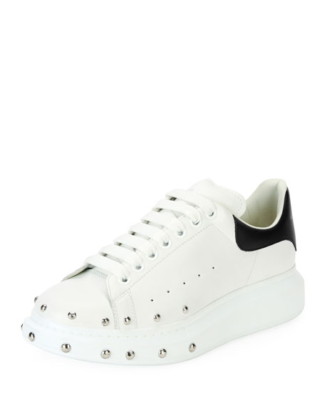 Alexander McQueen Studded Leather Low-Top Sneaker, White/Black