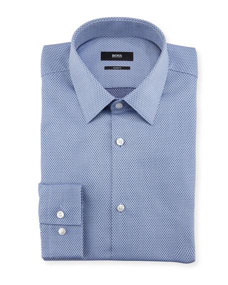 Jacquard Dot Slim-Fit Travel Dress Shirt, Blue