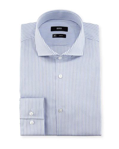 Striped Slim-Fit Travel Dress Shirt, Blue