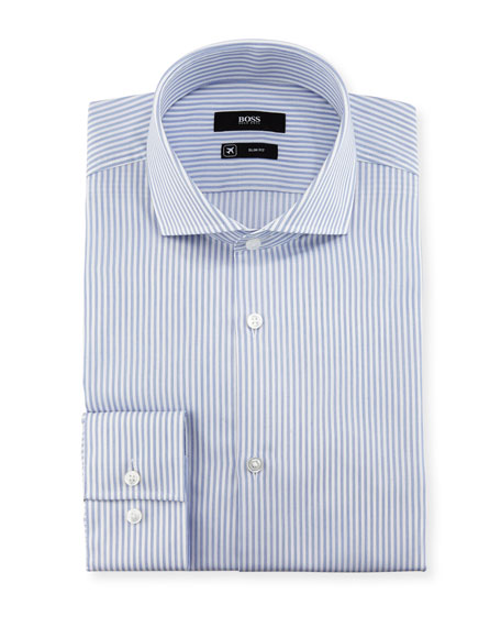 BOSS Striped Slim-Fit Travel Dress Shirt, Blue