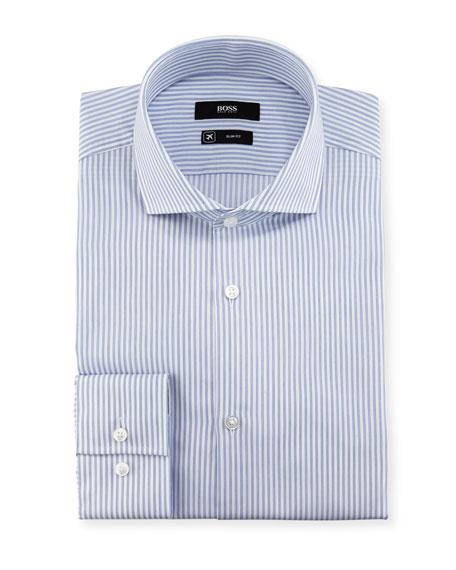 BOSS Striped Slim-Fit Travel Dress Shirt, Blue
